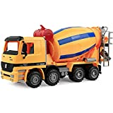 14' Oversized Cement Mixer Truck Friction Powered Big Construction Vehicle Toy for Kids Pretend Play