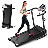 Foldable Treadmill Electric Running Machine: Folding Walking Pad Portable Compact Quiet Jogging Run Treadmills for Home Apartment Commercial Small Spaces Adult Seniors Obese People Exercise (Black)