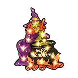 ALLADINBOX 17'' Prelit Halloween Decorations Window Silhouette Holiday Display - Witch Cooking Cauldron - Happy Halloween - Hanging/Tabletop Light Up Holiday Ornament (Battery not Included)