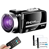 【Full Upgrade】 Ultra HD Video Camera Camcorder Vlogging Camera 1080P 30FPS Recorder Camera Remote Control IR Night Vision 3.0' Touch Screen with Separate Battery Charger, 2 Batteries