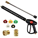 Twinkle Star Replacement Pressure Washer Gun with 16 Inch Extension Wand, 4000 PSI, Power Washer Gun with M22-15mm or M22-14mm Fitting, 5 Nozzle Tips, 40 Inch