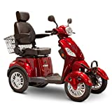 EWheels EW-46 4-Wheel 3-Speed Lightweight Travel Electric Battery-Powered Medical Mobility Scooter with Adjustable Seat and Rear Basket, Red