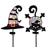 Alladinbox Halloween Metal Stakes Yard Decoration, Solar Multi-Color Lighted Shining Black Cat & Witch Hat, Outdoor Garden Lawn Yard Porch Pathway Ornaments, Set of 2