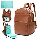 Diaper Bag Backpack Mominside Leather Baby Bag with 6 Insulated Pockets for Mom Dad, Baby Registry Search, Changing Station, Stroller Straps, Large Capacity for Wet Clothes, Waterproof(Brown)