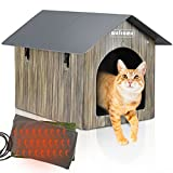 Heated Cat House, Petnf Waterproof Cat House for Indoor Outdoor Cats in Winter, 2 Doors Heated Cat Bed for Outside Feral Cats with Heated Pad, Weatherproof Insulated Kitty House Outdoor Shelter