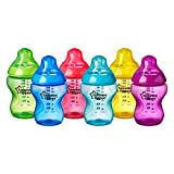 Tommee Tippee Closer to Nature Fiesta Baby Feeding Bottles, Anti-Colic, Slow Flow, BPA-Free - 9 Ounces, Multi-colored, 6 Pack (522597)