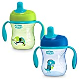 Chicco Semi-Soft Spout Spill Free Baby Trainer Sippy Cup, 6 Months, Blue/Teal, 7 Ounce (Pack of 2)