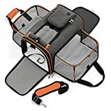 Lesure TSA Airline Approved Dog Carrier - Expandable Large Cat Carrier, Travel Pet Carriers for Small Medium Dogs, Soft-Sided Puppy Carriers with Sherpa Pad, 17x11x11 inch