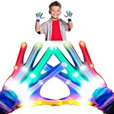 Toys for 4-5 Years Old Boys Girls Colorful Flashing Light Up Rainbow LED Gloves for Kids Cool Toys Birthday Gifts for 6-7 Years Old Kids Halloween Gifts Toys Cosplay Costumes Boys Girls Small Size