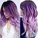 Wiwige Long Curly Wavy Ombre Purple Wigs for Women Synthetic Natural Middle Part Daily Party Halloween Cosplay Wig with Wig Cap