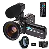 4K HD Digital Video Camcorders, Ultra HD 48MP 30FPS 16X Digital Zoom, Family Life, Travel Shooting Records, Provide External Microphone, Wide Angle Lens, Two Batteries and 32GB SD Card (Black)