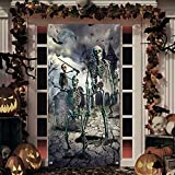 Halloween Door Cover Decorations Large Fabric Skeleton Door Cover Halloween Front Door Covering Scary Skull Backdrop Banner for Halloween Party ,Birthday Decoration(36'x 71')