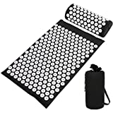 Acupressure Mat and Pillow Set with Bag - Ideal for Body Back Pain Relief and Neck Pain Relief - Acupuncture Massage - Advanced Stress Reliever - Muscle Relaxation (Black)