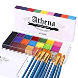UCANBE Face Body Paint Set - Athena Painting Palette, 10 Professional Artist Brushes - Large Deep Pan,Ideal for Halloween Cosplay Party SFX Arty Stage Makeup, Non-Toxic Facepaints for All Skin Types