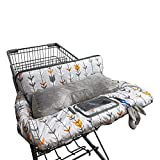 Shopping Cart Cover for Baby Cotton, Minky Bolster Positioner, 6.5' Cellphone Holder, High Chair Cover for Boy Girl,Infant Grocery Cart Cushion Liner Large