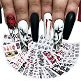 24 Sheet Halloween Nail Art Stickers, Skull Ghost Eye Pattern Water Transfer Nail Supplies, Horror Face Nail Decals Wraps for Women Acrylic Day of The Dead Fashion Design Accessories for Girl
