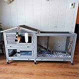 Guinea Pig Cage Indoor 62' Outdoor Rabbit Hutch with Casters Waterproof Roof, 3 Deep No Leakage Pull Out Tray