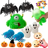 Halloween 12 PCS Stress Relief Toys for Kids Squeeze Squishy with LED Glow in the Dark Effect Monster, Ghost and Pumpkins Toys Party Favor and Supplies