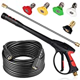 TOOLCY Pressure Washer Gun, 4000 PSI Power Washer Gun with Pressure Washer Hose 25 FT & Pressure Washer Wand & 5 Spray Nozzle Tips for Car Cleaning,Roof Washing