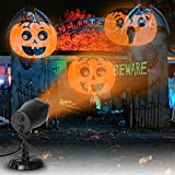 EAMBRITE Halloween Projector Light with 3 Dynamic Pumpkin Patterns Waterproof Holiday Projector for Party Garden Wall Indoor Outdoor Decoration