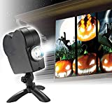 Halloween Christmas Window Projector, Led Holographic Projection with a Tripod, 12 Movies, for Christmas and Halloween Outdoor Garden Decoration Family Outdoor Party (Black)