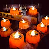 TURNMEON 12 Pack Halloween Pumpkin Tealights Candles with Spider Web Decor, LED Pumpkin Lights, Flame Less Candle Battery Operated Halloween Table Decorations Home Fireplace Party Thanksgiving Fall