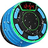 IPX7 Waterproof Speaker, BassPal Bluetooth Portable Wireless Shower Speakers with LED Display, FM Radio, Suction Cup, Light Show, TWS, Loud Stereo Sound for Pool Beach Home Party Travel Outdoors