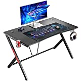 """Mr IRONSTONE Deep Gaming Desk 45.3"""" W x 29"""" D Home Office Computer Table, Black Gamer Workstation with Cup Holder, Headphone Hook and 2 Cable Management Holes"""