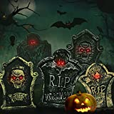 Kidtion Halloween Foam Tombstones 5 PCS, Halloween Yard Decorations, Lightweight Halloween Lawn Decorations with Large Sizes & Diverse Styles, Lifelike Halloween Graveyard Decorations with LED Lights