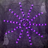 Zcaukya Halloween Indoor Decoration, 2 FT Halloween 60 LED Lighted Purple Spider Web Lights with Spider, 120V High Voltage LED Window Light Decorations for Halloween