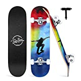 Beleev Skateboards for Beginners, 31 Inch Complete Skateboard for Kids Teens Adults, 7 Layer Canadian Maple Double Kick Deck Concave Cruiser Trick Skateboard (Blue)