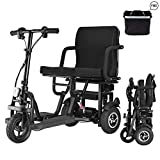 WISGING Scooter Mobility Folding Electric Mobility Scooter 3 Wheel Lightweight Portable Power Travel Scooters - Support 280 lbs Weight Only 56 lbs Long Range(12.8 Mile)