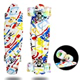 Skateboards for Beginners Girls Boys, 22' Complete Skateboard with Colorful LED Light Up Wheels and Sturdy Skateboard Deck for Teens Youths