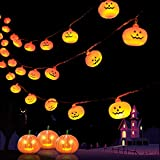 YUDI Halloween Pumpkin String Lights - Extra-Long 14.7 Ft 30 LED Lights Decorations Holiday Lights for Outdoor Decor 8 Lighting Modes with Remote Control Waterproof Lights
