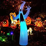 Kalolary 12FT Halloween Inflatables Scary Ghost Color Flashing Blow Up Skeleton Ghost, Outdoor Yard Inflatable Decoration with Multi-Colored LED Lights