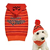 cyeollo Halloween Dog Sweater Stripe Knitted Pet Clothes in Cold Weather Warm Pullover Doggie Sweaters with Leash Hole for Small Dogs M