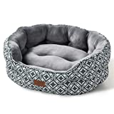 Bedsure 25 inch Small Dog Bed & Cat Bed, Round Pet Beds for Indoor Cats or Small Dogs, Round Machine Washable Super Soft & Plush Flannel Pet Supplies, Slip-Resistant Oxford Bottom, Grey