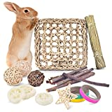 Bissap Rabbit Bunny Chew Toys Treats Supplies for Teeth Grinding Improve Dental Health, 100% Natural Apple Wood and Loofah, Rattan Ball, Seagrass Mat for Rabbits, Hamsters, Chinchillas, Guinea Pigs