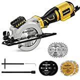 Mini Circular Saw,ENVENTOR 5.8A Compact Circular Saw with Laser Guide, Mini Saw 6 Saw Blades, Max Cutting Depth 1-11/16'(90°),1-1/8'(45°), Ideal for Soft Metal, Wood, Tile, Drywall, and Plastic Cuts