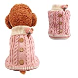 Dog Sweater Cute Classic Buttons Knitted Girls Winter Coat Keep Warm for Small Dogs Cold Weather,Pink,S