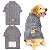 SCENEREAL Dog Sweater with Leash Hole - Cable Knit Turtleneck Dog Sweaters for Small Medium Large Dog Puppy - Dog Cold Weather Coats Sweatshirts for Fall Winter to Keep Warm