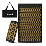Kowth Acupressure Mat and Pillow Set Yoga Mats Cushion Massage Mat for Muscle Fatigue and Relaxation-Black&Gold