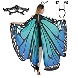 Butterfly Wing Cape Shawl with Lace Mask and Black Velvet Antenna Headband Adult Women Halloween Costume Accessory (Blue)