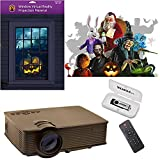"""Reaper Bros Holiday Digital Decoration Kit - Includes 16 AtmosFX Video Effects for Halloween, Christmas and More. Kit Includes a 1900 Lumen Projector and a 48"""" x 72"""" Holographic Projection Screen"""