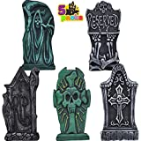 """17"""" Halloween Foam Graveyard Tombstone (5 Pack), Headstone with Different Styles and Bonus Metal Stakes for Halloween Outdoor Indoor Yard Decorations"""