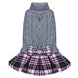 KYEESE Dog Sweater Dress with Bowtie Checkered Dog Sweaters with Leash Hole for Small Medium Dogs Warm Pet Sweater Grey