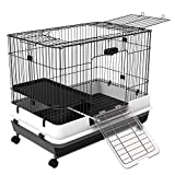 """PawHut 32""""L 2-Level Indoor Small Animal Cage Rabbit Hutch with Wheels - Black"""