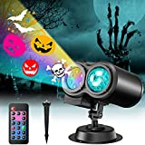 Halloween Christmas Projector Lights Outdoor, Holiday Projector Lights Waterproof with Remote, 22 HD Sildeshows ( 3D Ocean Wave & Patterns) for House Halloween Xmas Holiday Party Landscape Decorations