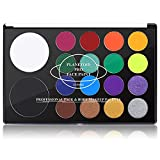 UCANBE Face & Body Paint, Water Activated SFX Makeup Palette - Extra Large White & Black Pan, Professional 18 Color Safe Non Toxic Art Painting Kit for Halloween, Cosplay, Parties, Theater & Stage
