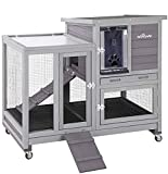 Upgrade Rabbit Hutch Rabbit Cage Indoor Bunny Hutch with Run Outdoor Rabbit House with Two Deeper No Leak Trays - 4 Casters Include (Grey)